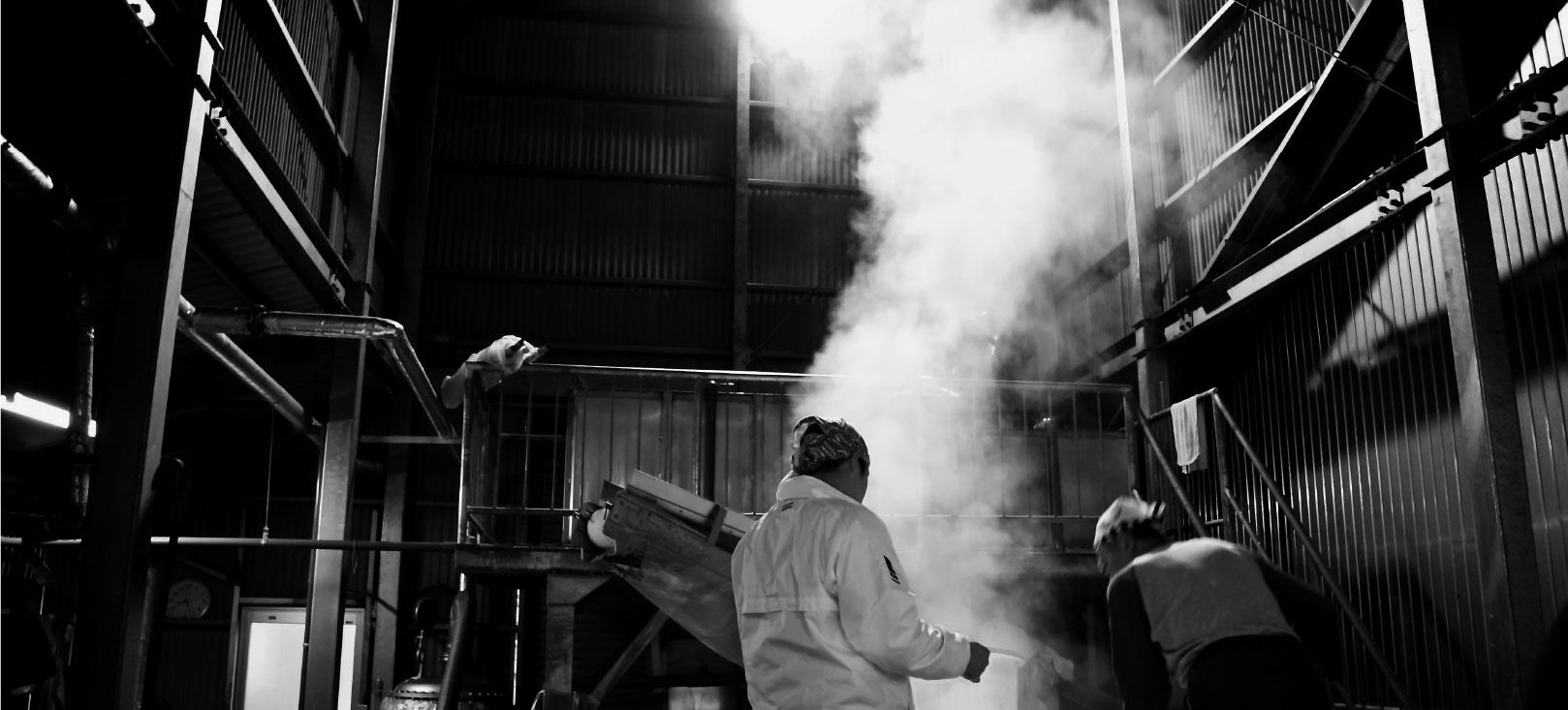 石鎚酒造の酒造り|洗米・浸漬・蒸きょう